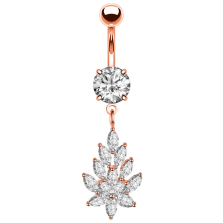 Nina | Rose Gold Crystal Belly Button Bar-Glitzy n Glamorous