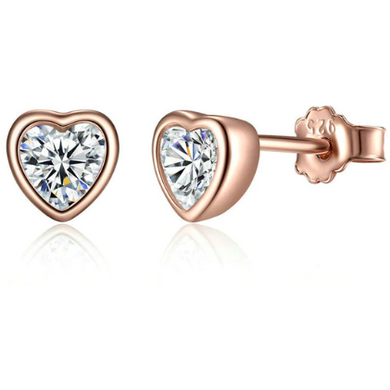 Lulu | Rose Gold Crystal Heart Stud Earrings-Glitzy n Glamorous