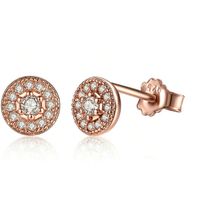 Erin | Rose Gold Crystal Circle Stud Earrings-Glitzy n Glamorous