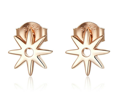 Rose Gold Sterling Silver Star Stud Earrings