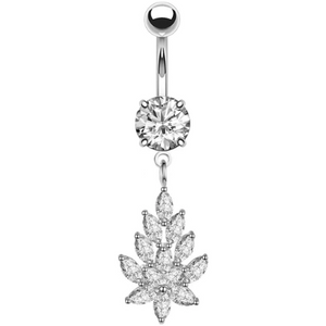 Silver Crystal Belly Button Bar