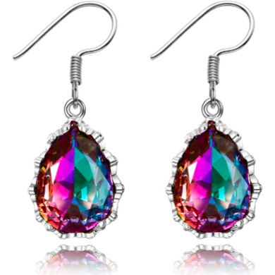 Sky II | Silver Rainbow Mystic Topaz Teardrop Earrings-Glitzy n Glamorous