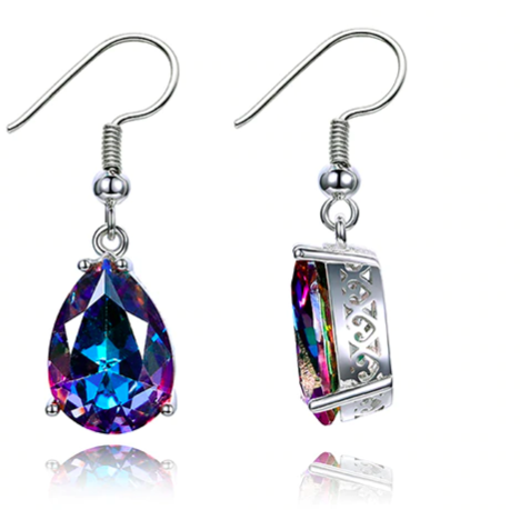 Sky | Silver Rainbow Mystic Topaz Teardrop Earrings-Glitzy n Glamorous