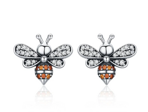 Bey | Sterling Silver Crystal Bee Earrings-Glitzy n Glamorous