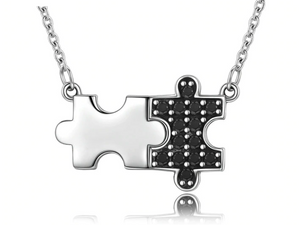 Sterling Silver & Black Crystal Jigsaw Pieces Necklace