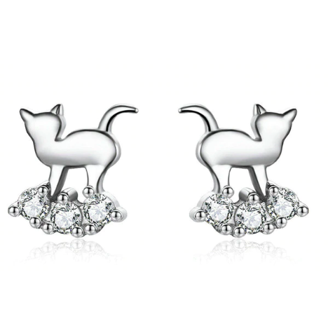 Athena | Sterling Silver Cat Crystal Stud Earrings-Glitzy n Glamorous