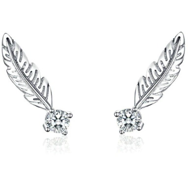 Arora | Sterling Silver Feather Crystal Stud Earrings-Glitzy n Glamorous