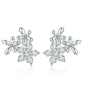 Gypsy | Sterling Silver Crystal Flower Heart Stud Earrings-Glitzy n Glamorous