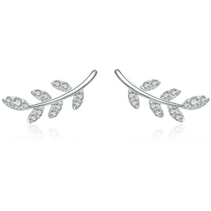 Nora | Sterling Silver Crystal Leaf Stud Earrings-Glitzy n Glamorous