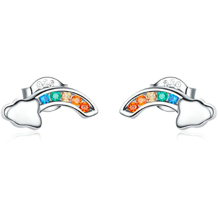 Dorothy | Sterling Silver Rainbow Crystal Stud Earrings-Glitzy n Glamorous