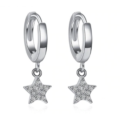 Emi | Sterling Silver Crystal Star Huggie Hoops Earrings-Glitzy n Glamorous