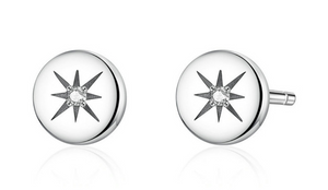 Sterling Silver Crystal Star Stud Earrings