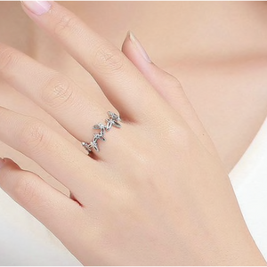 Jasmine | Sterling Silver Cubic Zirconia Crystal Butterfly Ring-Glitzy n Glamorous