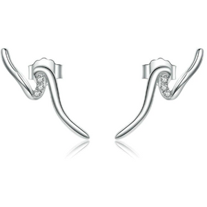 Anthia | Sterling Silver Wave Crystal Stud Earrings-Glitzy n Glamorous