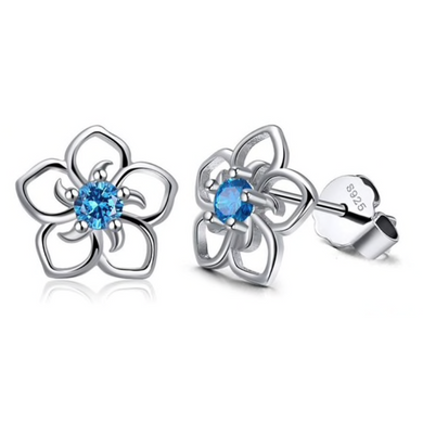 Daisy | Sterling Silver & Blue Crystal Flower Earrings-Glitzy n Glamorous