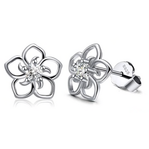 Daisy | Sterling Silver Crystal Flower Earrings-Glitzy n Glamorous