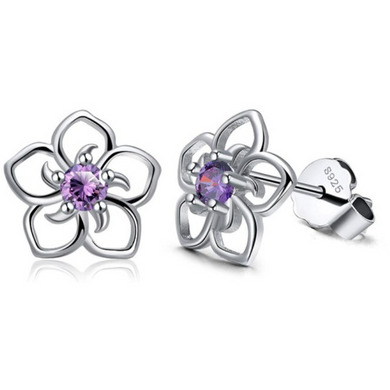 Daisy | Sterling Silver & Purple Crystal Flower Earrings-Glitzy n Glamorous