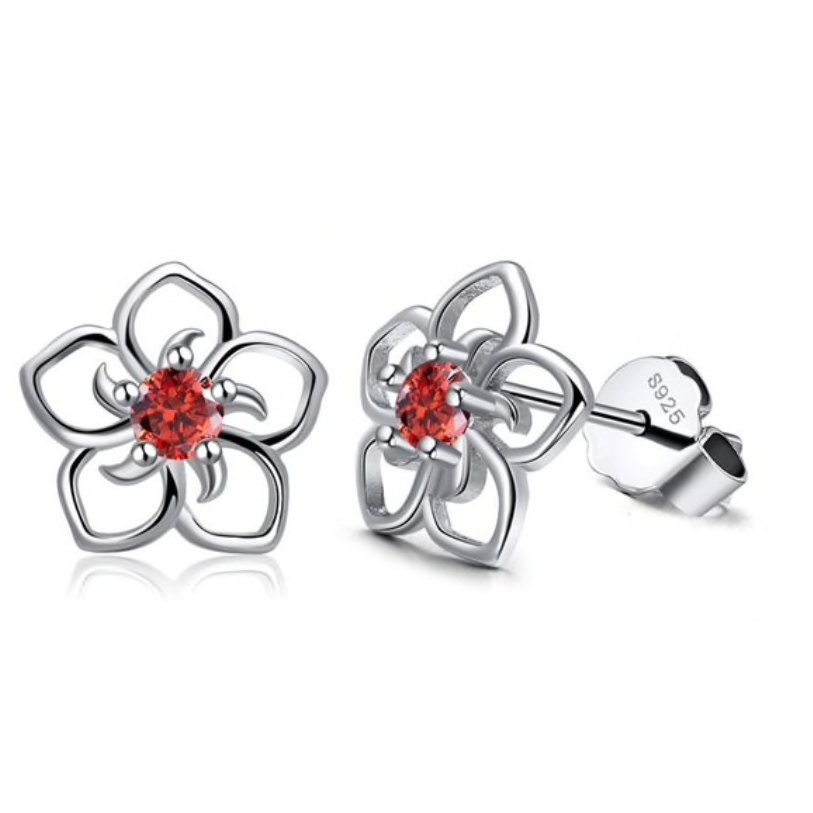 Daisy | Sterling Silver & Red Crystal Flower Earrings-Glitzy n Glamorous