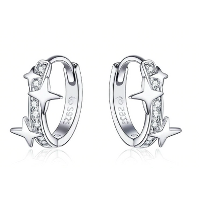 Emma | Sterling Silver Crystal Star Huggie Hoops Earrings-Glitzy n Glamorous