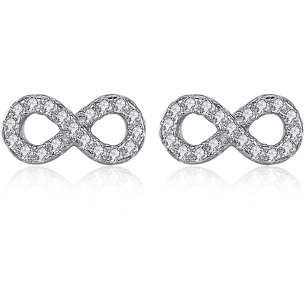 Infinite Love III | Sterling Silver Crystal Infinity Forever Stud Earrings-Glitzy n Glamorous