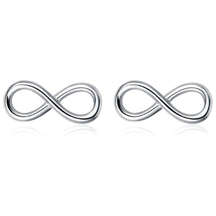 Infinite Love | Sterling Silver Infinity Forever Stud Earrings-Glitzy n Glamorous