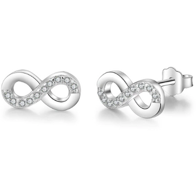 Infinite Love II | Sterling Silver Crystal Infinity Forever Stud Earrings-Glitzy n Glamorous