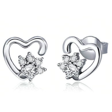 Roxanna | Sterling Silver Heart Crystal Paw Stud Earrings-Glitzy n Glamorous