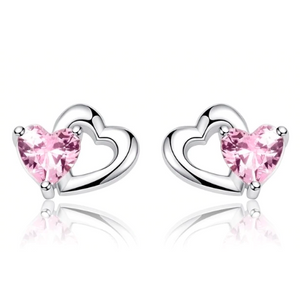 Grace | Sterling Silver Pink Crystal Heart Stud Earrings-Glitzy n Glamorous