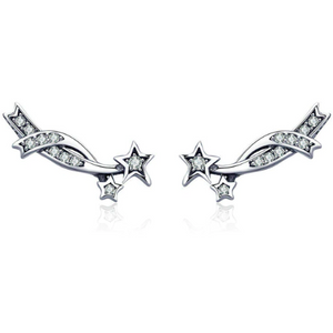 Nova | Sterling Silver Shooting Star Crystal Stud Earrings-Glitzy n Glamorous