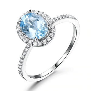 Blue Crystal Sterling Silver Ring