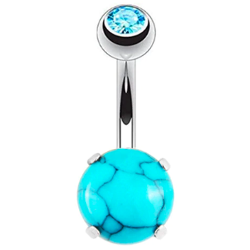 Tabetha | Turquoise Blue and Silver Crystal Belly Button Bar-Glitzy n Glamorous