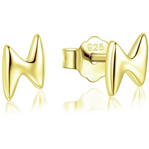 Xena | Gold Lightning Bolt Stud Earrings-Glitzy n Glamorous
