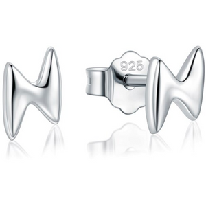 Xena | Sterling Silver Lightning Bolt Stud Earrings-Glitzy n Glamorous