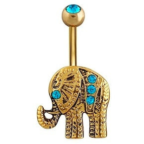 Body Jewellery - Ellie | Gold Crystal Elephant Belly Button Bar