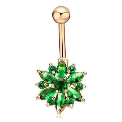 Body Jewellery - Flo | Green And Gold Crystal Flower Belly Button Bar
