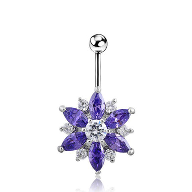 Body Jewellery - Flo | Purple And Silver Crystal Flower Belly Button Bar