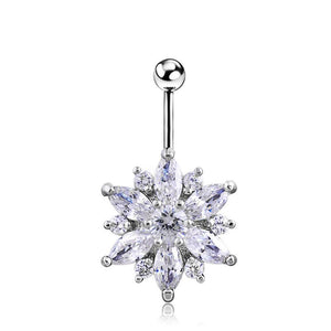 Body Jewellery - Flo | Silver Crystal Flower Belly Button Bar