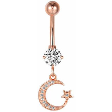 Body Jewellery - Genie | Rose Gold Crystal Moon & Star Belly Button Bar