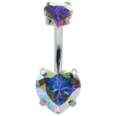 Body Jewellery - Hemi | Silver AB Crystal Heart Belly Button Bar