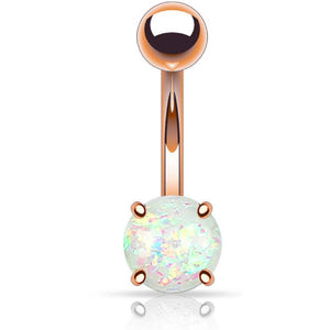 Body Jewellery - Ola | Rose Gold Opal Belly Button Bar