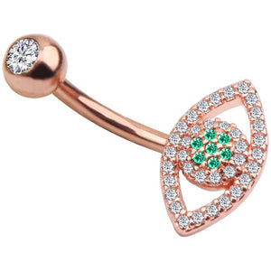 Body Jewellery - Ollo | Rose Gold Crystal Eye Belly Button Bar