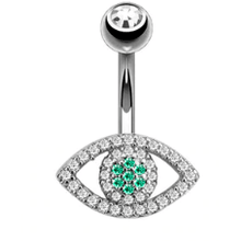 Load image into Gallery viewer, Body Jewellery - Ollo | Silver Crystal Eye Belly Button Bar