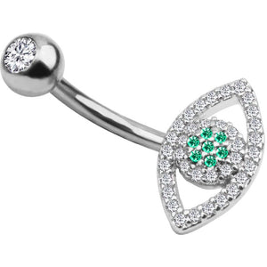 Body Jewellery - Ollo | Silver Crystal Eye Belly Button Bar