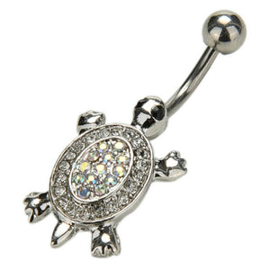 Body Jewellery - Tia | Silver AB Crystal Turtle Belly Button Bar