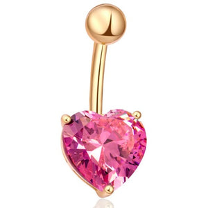 Body Jewellery - Violet | Pink And Gold Crystal Heart Belly Button Bar