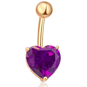 Body Jewellery - Violet | Purple And Gold Crystal Heart Belly Button Bar