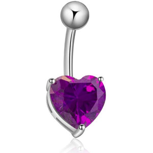 Body Jewellery - Violet | Purple And Silver Crystal Heart Belly Button Bar