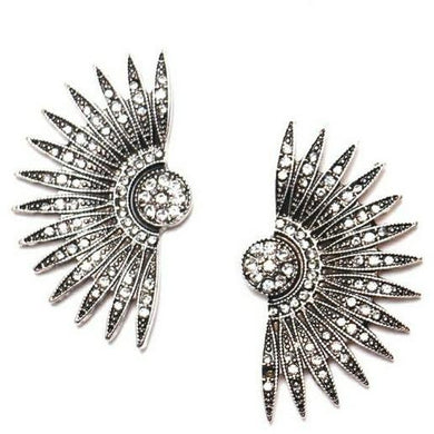 Earrings - 1920S CRYSTAL DIAMANTE GATSBY FAN EARRINGS