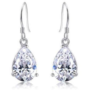 Earrings - Ada | Silver Crystal Diamante Drop Wedding Bridal Earrings