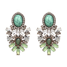 "Load image into Gallery viewer, Earrings - ""ARIA"" GREEN CRYSTAL DIAMANTE STATEMENT EARRINGS"
